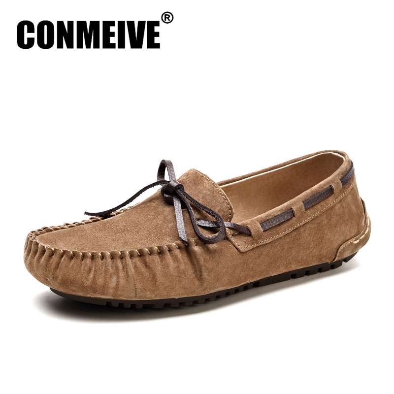 2017 Brand Mens Loafers Moccasins Slip-on Breathable Charm Men Shoes Casual Fashion Round Toe Brown Men Flats Leather Boat Shoes<br>