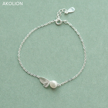 AKOLION Silver Charm Leaf Imitation pearl Bracelet Leaves plant  Bracelets 925 Sterling Jewelry for Women Girl Kids Gifts