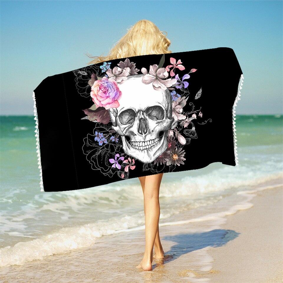 Floral Skull Bath Towel Bathroom Vintage Gothic Microfiber Beach Towel Black Sug