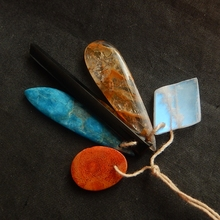 5Pcs Natural Stone Orange Coral Blue Apatite Crystal Obsidian Gold Rutilated Quartz Necklace Pendants(China)