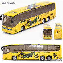 Abbyfrank 1:50 Plastic City Bus Model Car Toys For Kids High Simulation Toy Vehicles Early Educational Pull Back Cars Brinquedos(China)