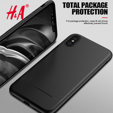 H&A Luxury Environmental Carbon Fiber Case For iPhone X 10 Soft Anti-Skid Anti-Knock Slim Cover For iPhone 10 X Cases Bag(China)