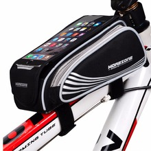 MOREZONE Bicycle Frame Front Head Top Tube Bike Bag&Double IPouch Cycling For 5.5 inch Cell Phone Bike Accessories