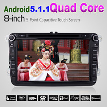 "Android 5.1.1 Lollipop Quad Core For VW 1024*600 HD Head Unit 8"" Car GPS Navigation For Volkswagen Seat Skoda DVD Player #4298"