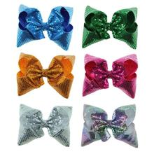 Free Shipping 6pcs Paillette Sequin hair bow Large shiny hair bow Boutique Twisted Hair bow