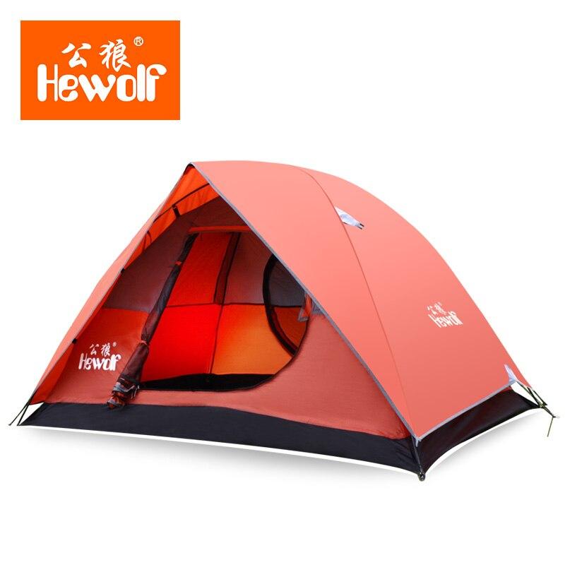 Hewolf Ultralight 2 Persoon Tent Ultralight Outdoor Wandelen Winddicht Waterdicht Dubbellaags Tent Aluminium Staaf Camping Tent <br>