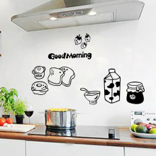 Removable Wall Stickers Happy Breakfast Kitchen Restaurant Table Milk Bread Refrigerator Sticker Home Decor Wallpaper Art