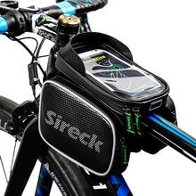 "Sireck Waterproof Bicycle Bag Touchscreen Road Bike Front Top Tube Bag 5.8/6.2"" Phone Case MTB Cycling Frame Bag Bike Pannier"