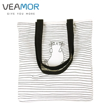 Black and White Stripes Nap Cat Pattern Canvas Zipper Handbag Shoulder Bag 4 Straps Hot Fashion Schoolbags Storage Bags WB1071(China)