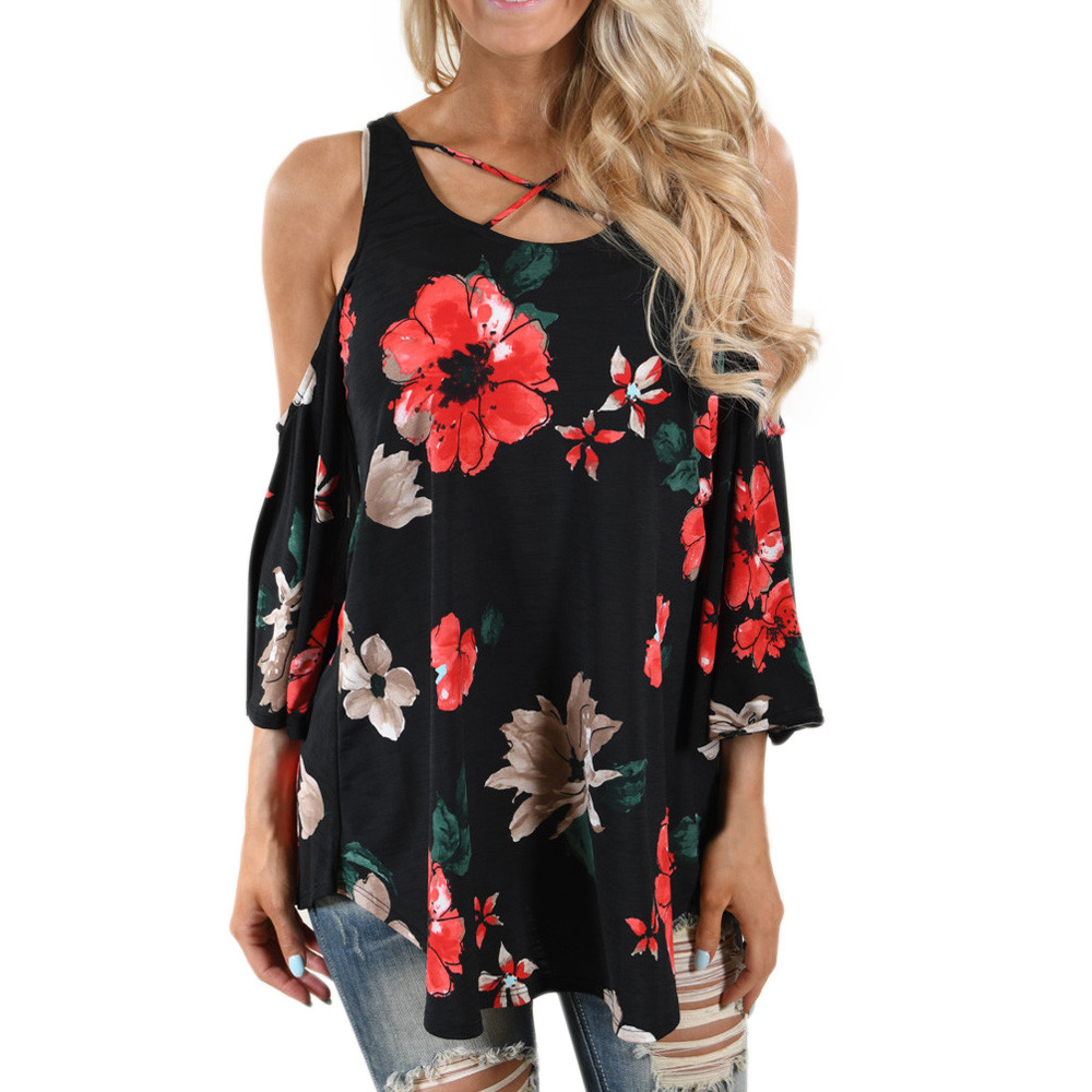 Feitong Fashion Floral Print Chiffon Women Summer T-Shirt Three Quarter Sleeve Shoulder Women Clothing Loose Female Tops