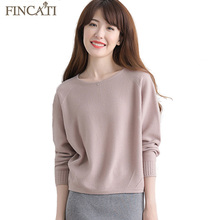 Women Sweater Pullover Fincati 2017 Autumn Winter New High Quality Round Rolled Collar 100% Mink Cashmere Pulls Knitwear Jersey(China)