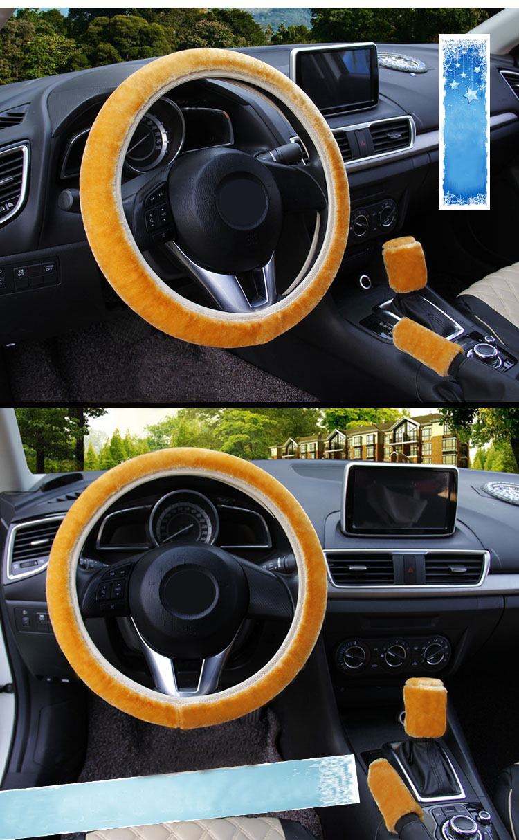 winter Steering Wheel Cover+Handbrake cover + car Automatic Covers / Warm Super thick Plush Gear Shift Collar 15