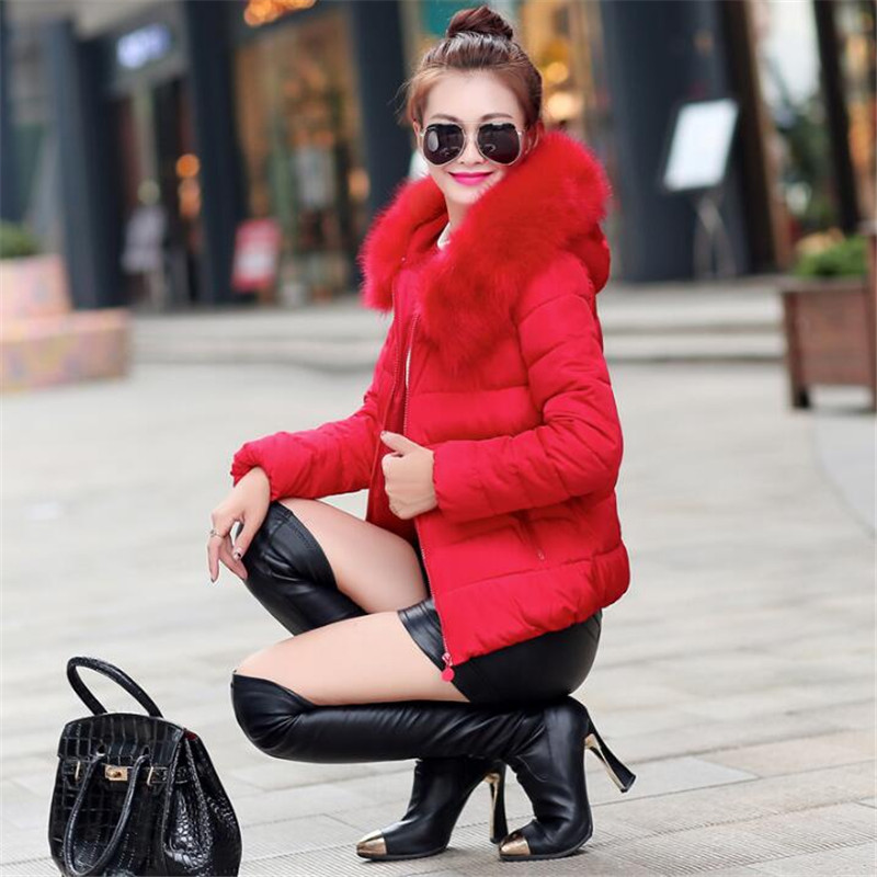2017 New Arrival winter jacket women fashion down cotton jacket Fur Collar long sleeve Slim short Large Size hooded coat OutwearОдежда и ак�е��уары<br><br><br>Aliexpress