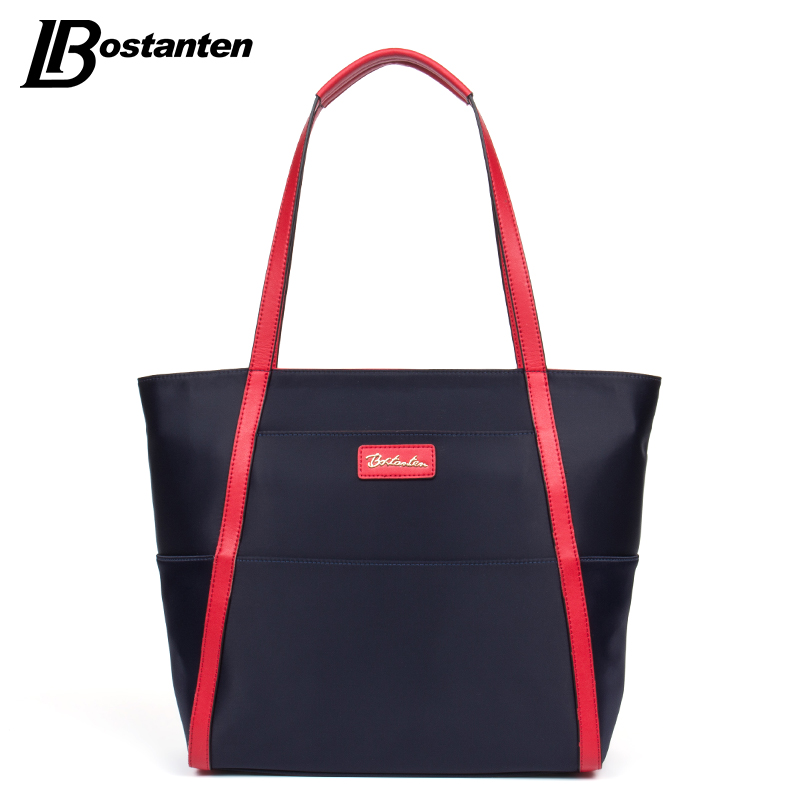 Bostanten Women Handbags Fashion Casual Totes Nylon Red/Brown Top Zip Top-handle Handbag Folding Large Shopping Weekend Bag<br><br>Aliexpress