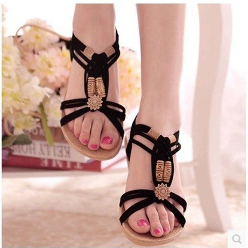 Brand new Ladies leisure elastic band slides sandals summer style womens big size flat shoes(4 to 9) for girls in beige/black<br><br>Aliexpress