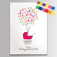 Canvas Baby Shower Guest Book Fingerprint Signature Painting Party Decoration Birthday Gift Baby Shower Comunion Attendance