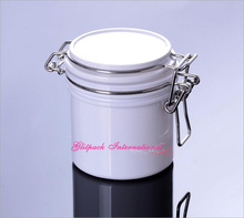 10pcs/lot 200G White PET Airtight Canning jars 7oz Can Containers for Mud/Facial Cream Scrub 200ml Wire Bale Jars w/ Hinged Lids