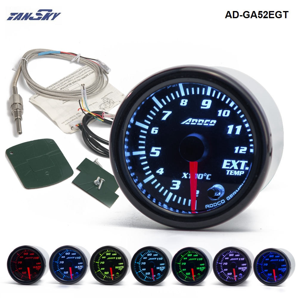 "TANSKY - 2""/52mm 7 Color LED Car Exhaust Gas Temp Gauge Ext Temp Meter EGT With Sensor and Holder AD-GA52EGT"