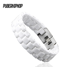 Fashion Men BRACELET Elegant Jewelry White Convex Strap Ceramic Bracelet For Men Women 22cm Long Watch Link Bracelet Never Fade(China)