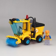 City Block Series Forklift Truck Building Blocks City Construction Sweeper Truck Road Roller Blocks Toys for children