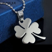 FUNIQUE Lucky Womens Necklace Heart Clover Silver Pendant Necklace Stainless Steel Fine Jewelry 49cm 1PC