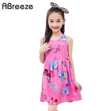 Abreeze New summer style girls clothing 2-12T butterfly print dresses for girls fashion sleeveless kids girls beach dresses DQ08