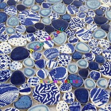 Blue Pebble Tile Sheets Swimming Pool Deco Ceramic Kitchen Tile Bathroom Wall And Floor Mosaic Border Art(China)