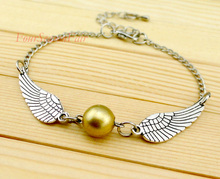 (10 PCS/lot) CustomHarry Potter Quidditch Golden Snitch Pocket Wings Bracelet Vintage Retro Tone For Men and Women Wholesale -(China)