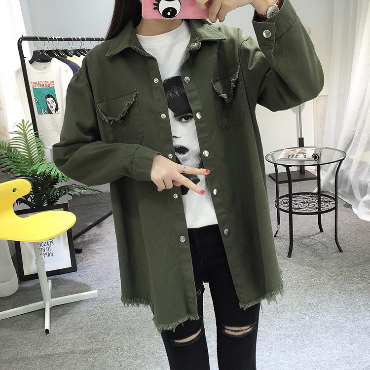 2018 Spring Autumn New Long Section Lapel Tassel Denim Jackets Women Loose Casual Long Sleeve Female\'S Thin Basic Jacket Coats (16)