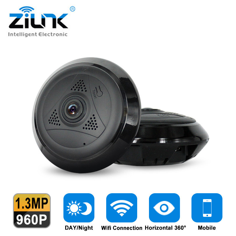 ZILNK 1.3MP HD WIFI IP Camera Fisheye 360 Degree Panoramic Night Vision P2P Two Way Audio Home Security Mini Camera VR Cam<br>