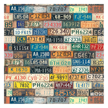 7X5FT Vinyl Photography Backdrop Retro License Plate Wall Photo Background(China)