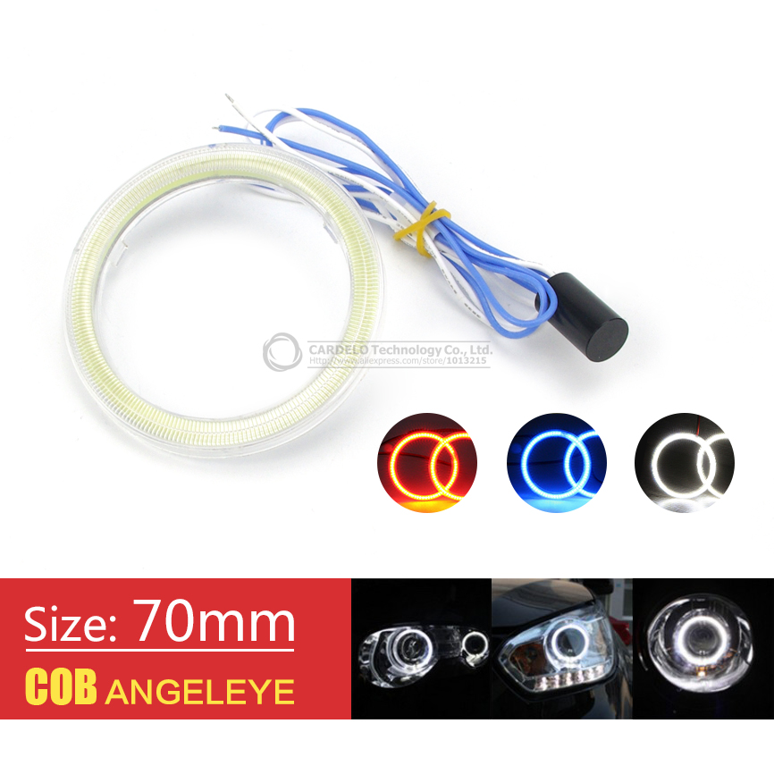 2x 70mm Car Motorcycle COB Angel Eye LED Chip Halo Rings Fog Light DRL Waterproof Auto Headlight Lighting With Lampshades<br><br>Aliexpress
