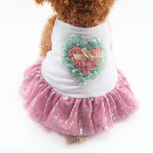 Armi store Rose Love Decoration Dog Dresses Sling Dogs Princess Dress 6071049 Puppy Clothes Skirt Supplies