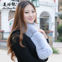 Winter Fox Fur Scarf Shawl Warm Collar Long Fur Scarf Women Solid Fur Wraps Cosplay Muffler Female Stole Accessories Scarves(China)