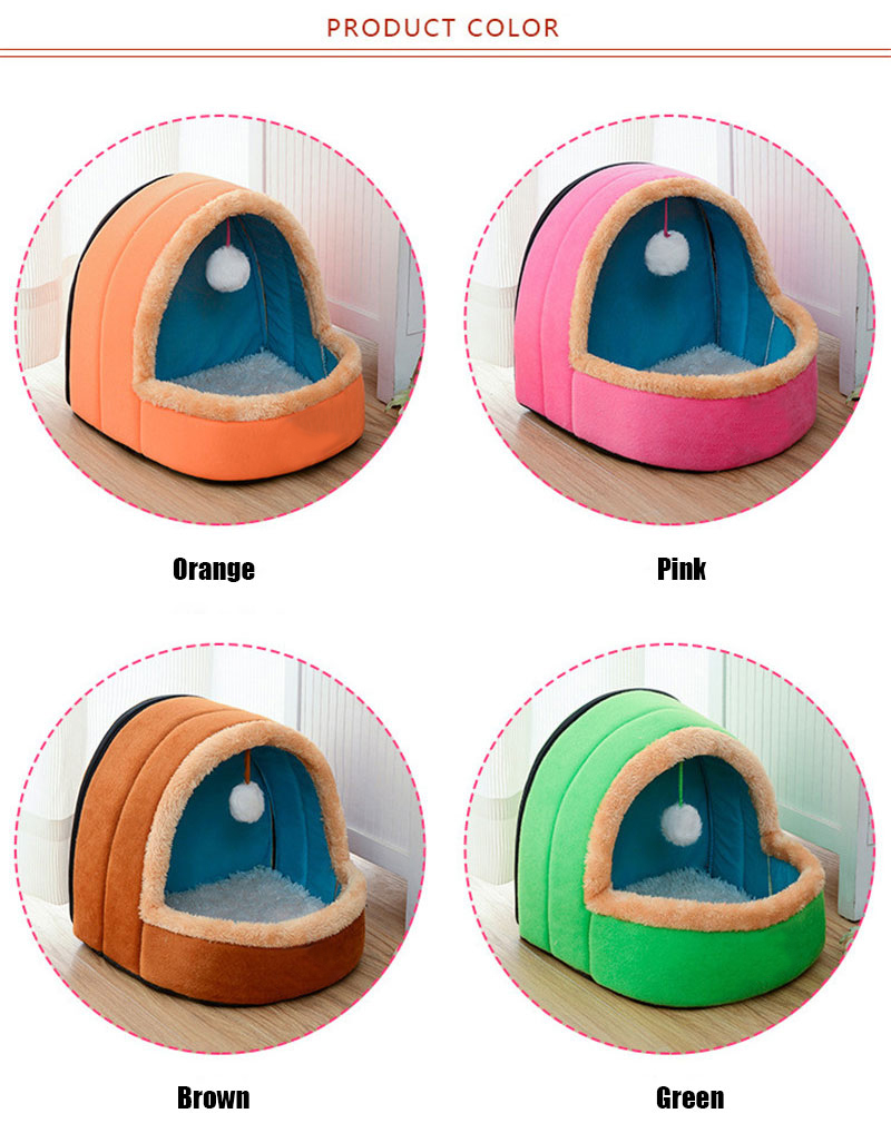 5 Colors Pet Dog Cat Bed Foldable Puppy House With Toy Ball Warm Soft Pet Cushion Dog Kennel Cat Castle  (4)
