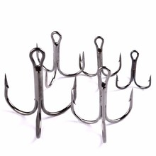 50 pcs/pack Fish Hook High Carbon Steel Fishing Tackle Round Bent Treble Saltwater Barbed Hook Size #2 to #10