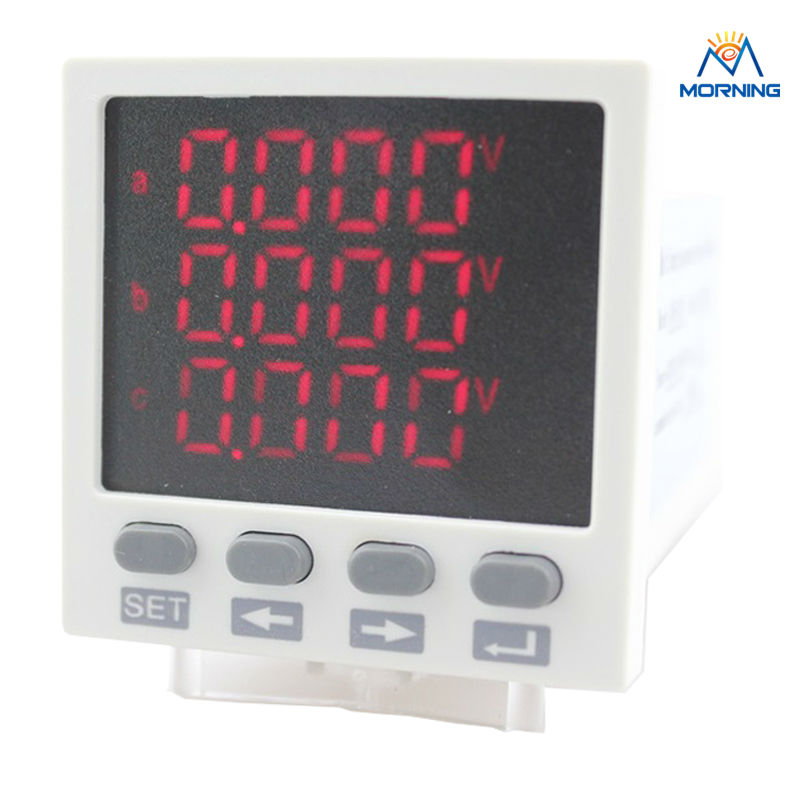 3D8 frame size 48*48mm ammeter voltmeter high quality led display three-phase digital multifunction meter, for distribution box<br>
