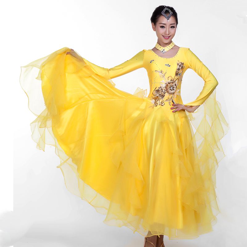Women's Extra Plus Size Modern Dance Costume Standard Ballroom Dancing One-piece Dress Performance Ballroom Dance Costumes MQ235