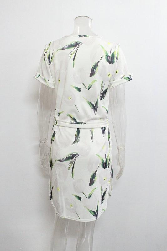 2018 Spring Summer Printed Women Dress O-Neck Hem Side Split Ladies Dresses Tie Sashes Short Sleeve Casual Sexy Female Vestidos 27