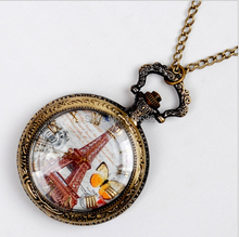 100 pc Vintage Eiffel spring butterfly pocket watch Necklace new  old fashion fashion woman unisex women