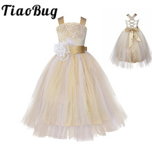 Free ship Vintage Lace Rustic Champagne Spaghetti Straps Sluffy Tulle Ball Gown Flower Girl Dresses for Weddings Evening Party(China)