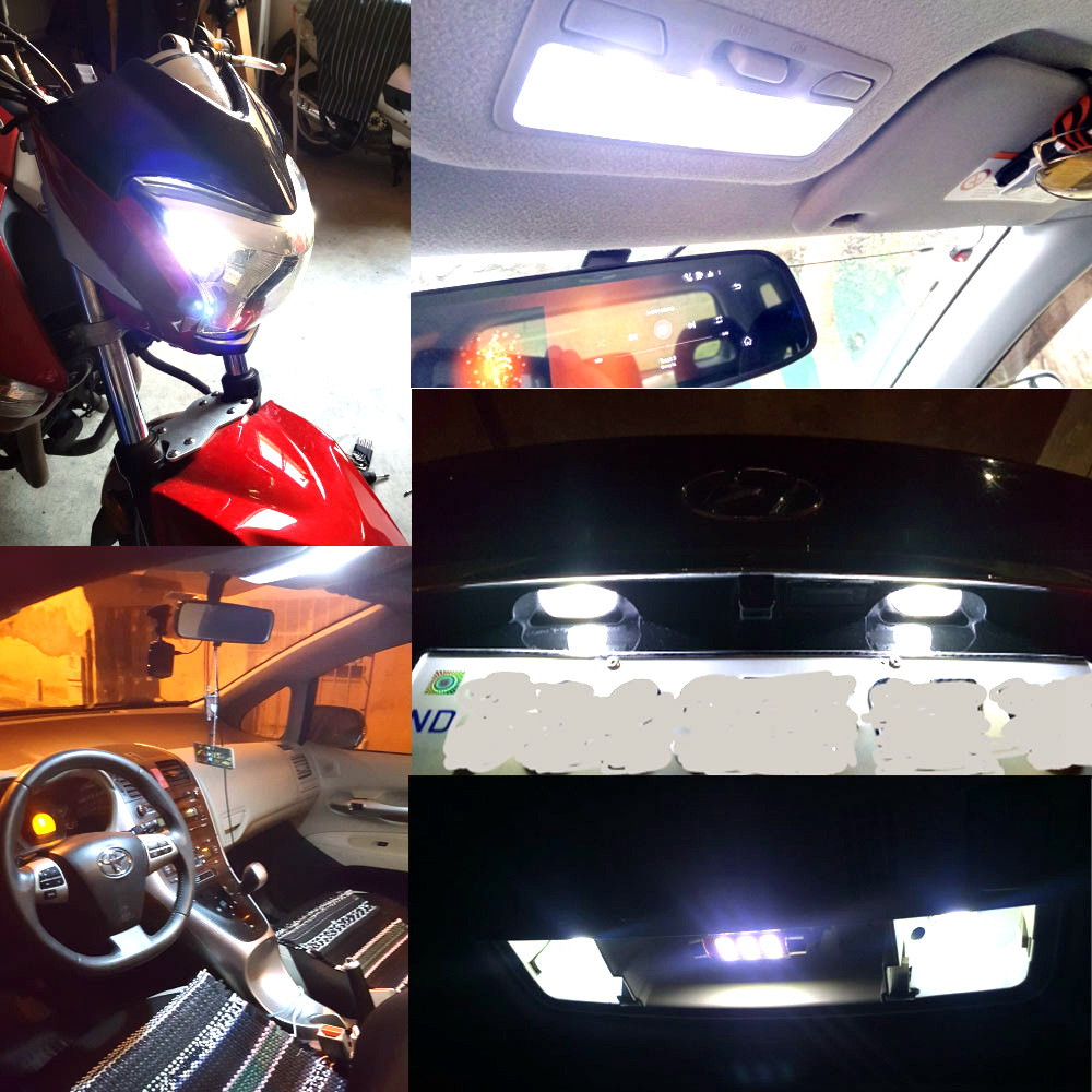 Hviero Car LED 10PCS T10 194 W5W DC 12V Canbus 6SMD 5050 Silicone shell LED Lights Bulb No Error Led Parking Fog light Auto