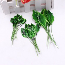 20pcs mini green plastic paper artificial leaf wedding home decoration DIY wreath rose leaf artificial plant handmade crafts