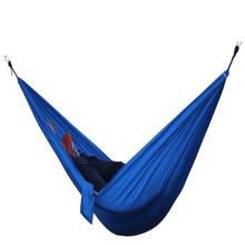 High quality European popular portable parachute nylon fabric outdoor camping trip double hammock 275 * 140 cm free shipping(China)
