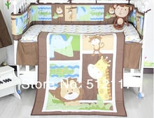 2014 New giraffe Forest Animals 8pcs Baby Cot Crib Bedding Set 5 items Includes Quilt Bumper Sheet crib skirt Diaper Stacker(China)
