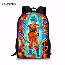 INSTANTARTS Fashion Children Anime Backpack Cool Dragon Ball Super Blue Character Son Goku Vegeta Printing School Bags for Boys