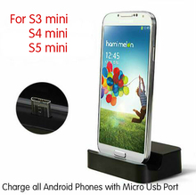 Micro USB Desktop Charging Dock Stand Charger For Samsung Galaxy S3 mini S4 mini S5 mini +Micro USB Charger Cable