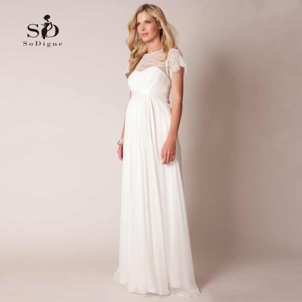 Wedding Dress 2018 Lace Plus size Ppregnant Bride Dress Simple Chiffon Sweep -floor Short Sleeves 5ae689323f67