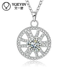 Femal Jewelry silver plated pendant Necklace CZ stone Necklace silver plated jewelry Chokers Necklaces Jewelry supplier