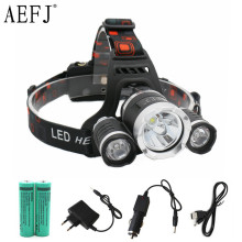 13000LM LED T6+2R5 Headlamp Headlight Head Lamp lighting Light Flashlight Torch Lantern Fishing+18650 battery+Car USB AC Charger(China)
